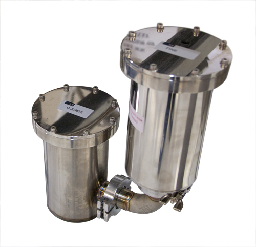 Oil mist filter for use with Dilution Refrigerator circulation pumps. ICE recommends one fine and on